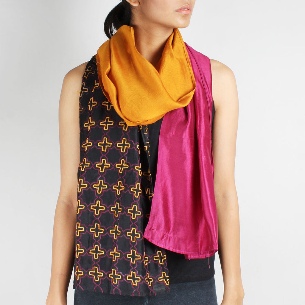 Wine& Mustard Color Block Embroidered Silk Stole by Desi Polka