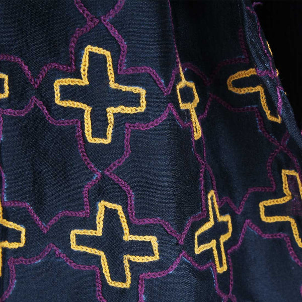 Wine& Mustard Color Block Embroidered Silk Stole