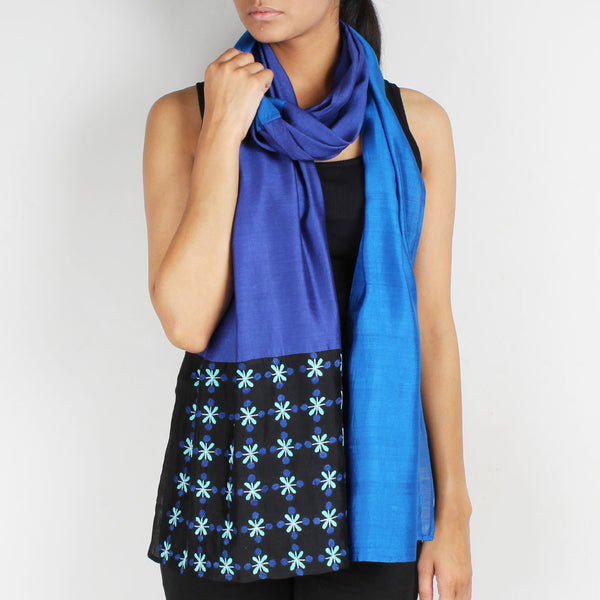 Blue & Navy Blue Color Block Embroidered Stole