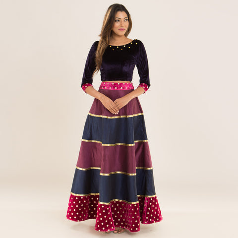 Berry Sangria Top & Skirt by Deepa Pant