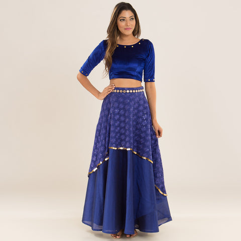 Royal Blue Top & Skirt by Deepa Pant
