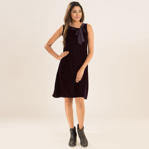 Violet Swing Dress in Velvet by Deepa Pant