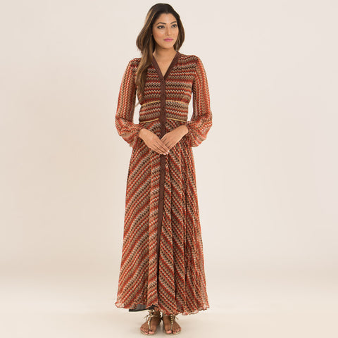 Rustic Brown Chevron Dress in Georgette by Deepa Pant