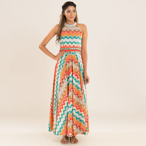 Tangerine Teal Dress in Crepe by Deepa Pant