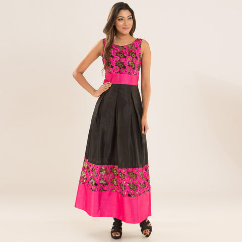 Daisy Pink Dress in Net & Silk by Deepa Pant