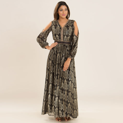 Retro Black Gold Maxi in Georgette by Deepa Pant