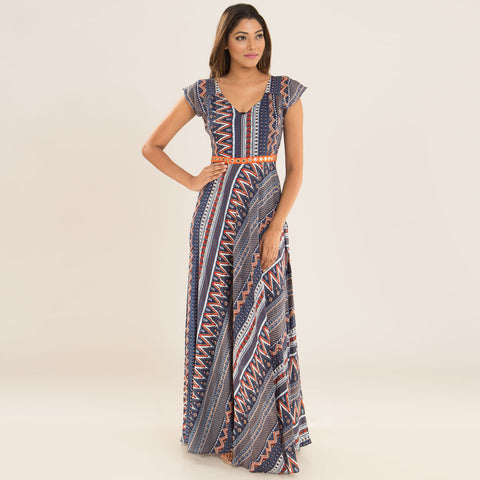 Indigo Orange Dress in Rayon by Deepa Pant