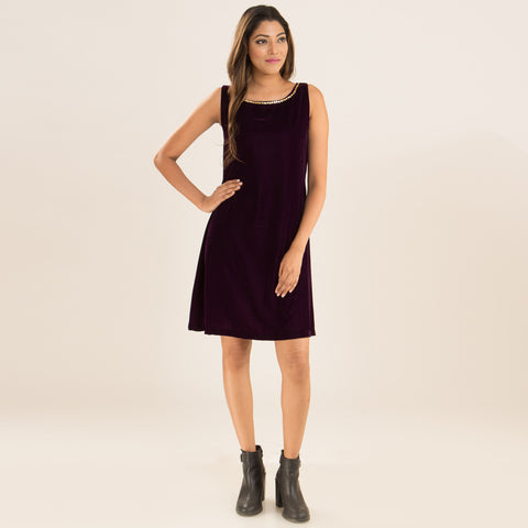Deep Purple Swing Dress in Velvet by Deepa Pant
