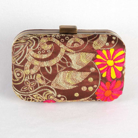 Brown Raw Silk Embroidered Clutch by Tresor