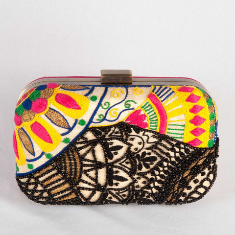 Black Beaded Raw Silk Clutch by Tresor