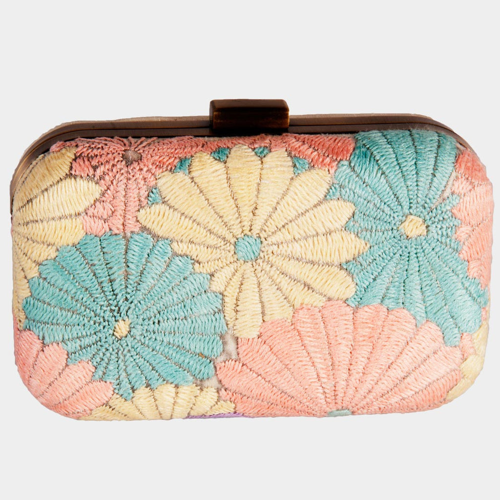 Raw Silk Orange Pastel Floral Clutch by Tresor