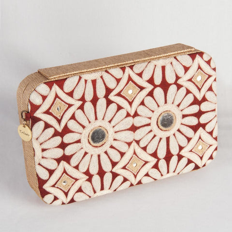 White Floral Motif Clutch by Tresor