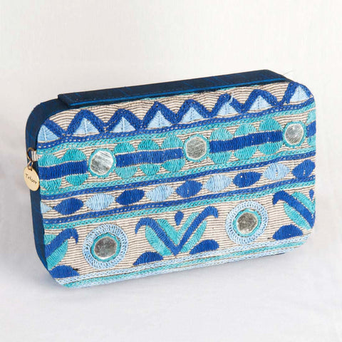 Blue Mirrorwork Clutch by Tresor