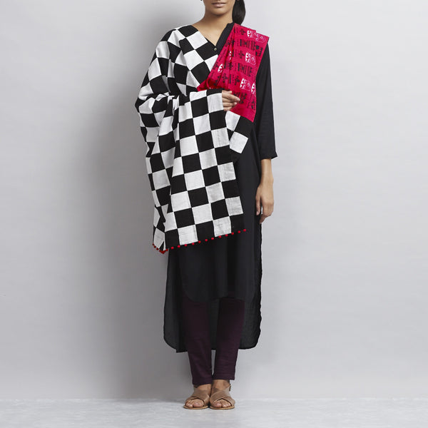 Neon Pink Cotton Dupatta With Bold Chequered Black & White Patchwork & Indian Avatars Of Totem Poles Motifs