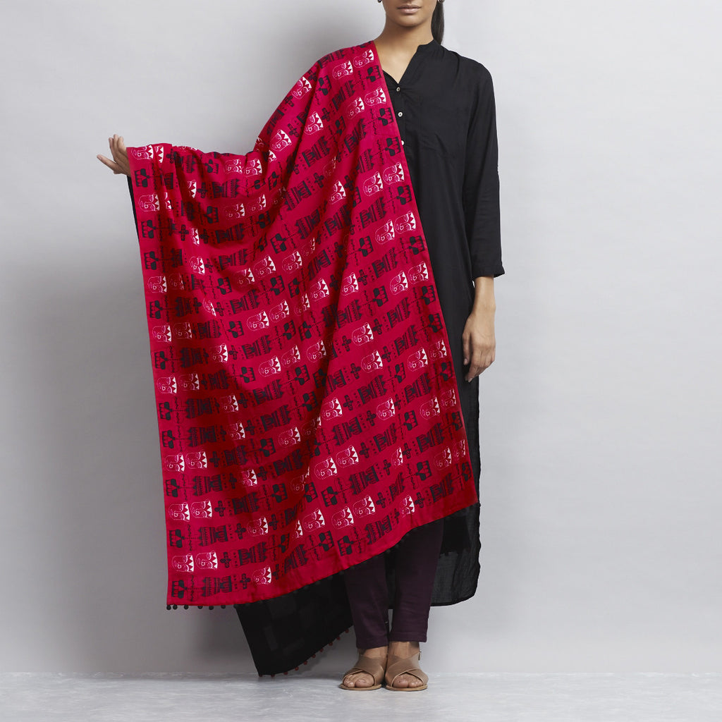 Neon Pink Cotton Dupatta With Bold Chequered Black & White Patchwork & Indian Avatars Of Totem Poles Motifs by Udd