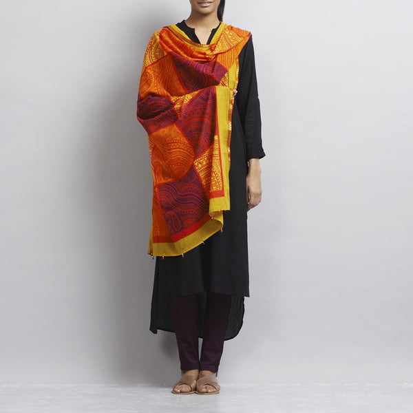 Orange Printed Patchwork Mul Dupatta With Handmade Ethnic Lace Finishing