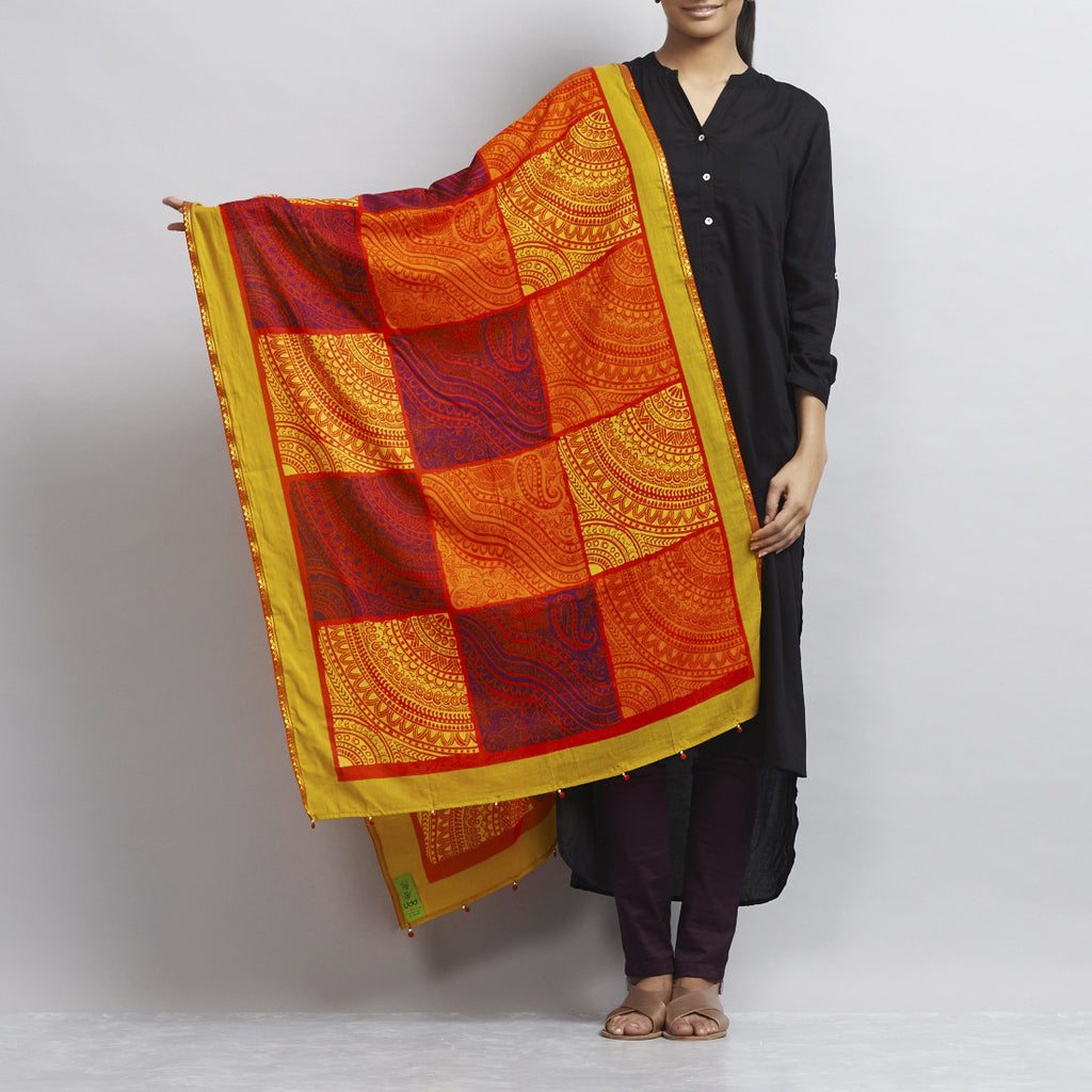 Orange Printed Patchwork Mul Dupatta With Handmade Ethnic Lace Finishing by Udd