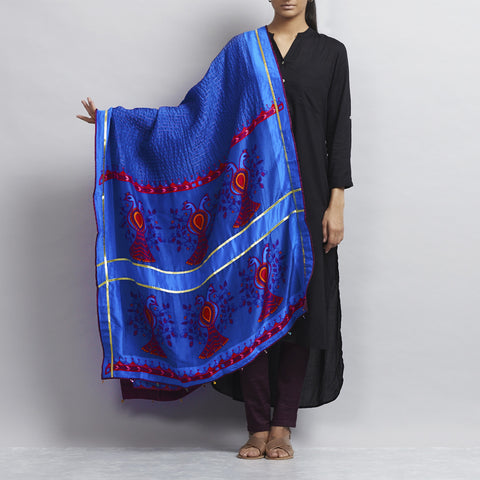 Blue Silk Bird Motif Dupatta With Gold Threadwork & Gold Gota Details by Udd