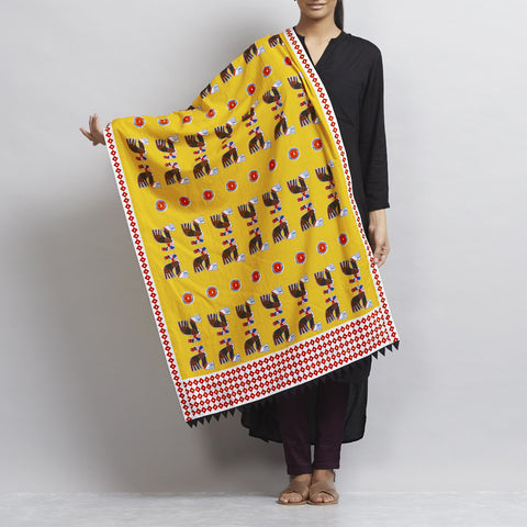 Yellow Warrior Bird Emblems Cotton Dupatta With Handmade Streamer Border by Udd