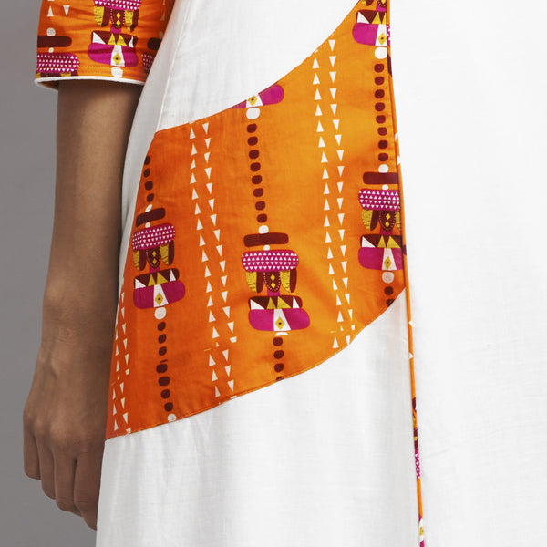 White Totemic Print Khadi Cotton Dress