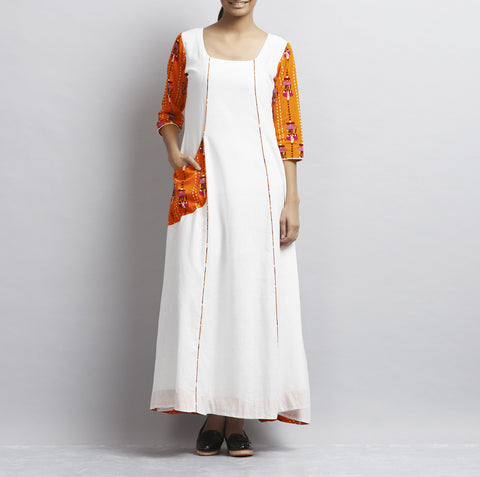 White Totemic Print Khadi Cotton Dress by Udd