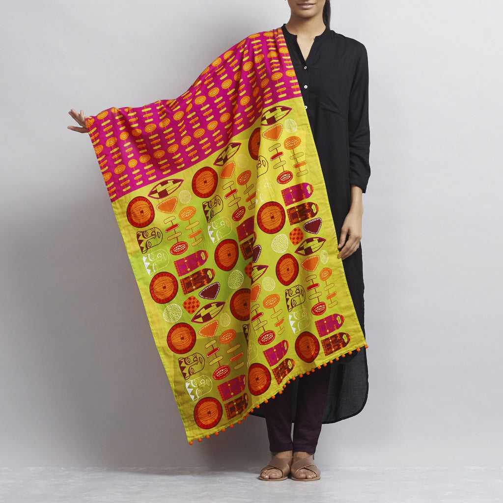 Pink Cotton Dupatta With Totem Symbols by Udd