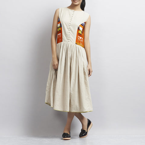 Beige Khadi Cotton Dress by Udd
