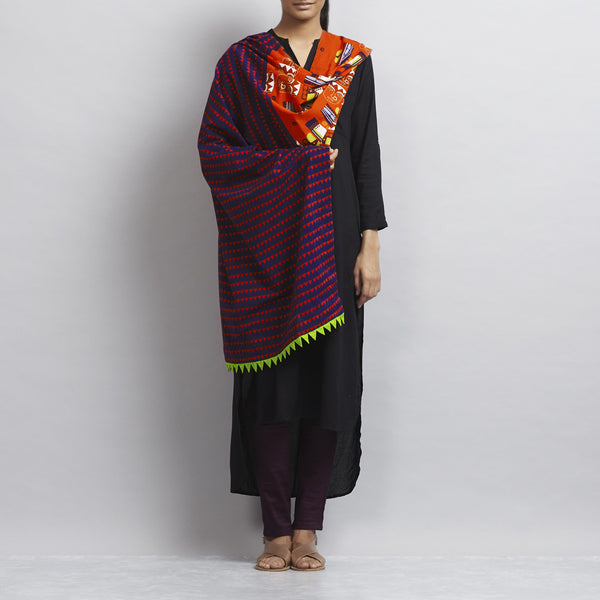 Midnight Blue Cotton Dupatta With Totem Pole Elements Tribal Tattoo Print & Handmade Fabric Streamer Border