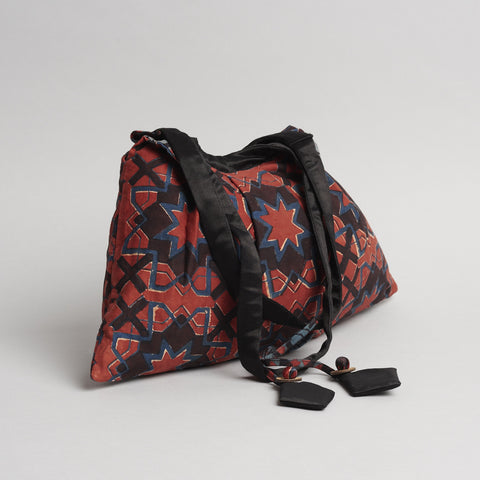 Madder Red Cotton 'Sitara' Ajrakh Block Printed Handbag by Ek Katha