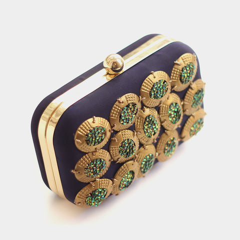 Golden Metallic Rings Blue Silk Clutch by ETRE