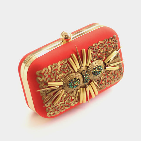 Swirly Red Silk Box Clutch by ETRE