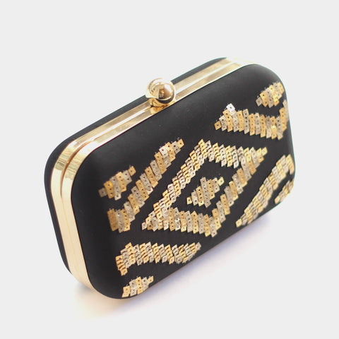 Pixelated Aztec Black Silk Clutch by ETRE