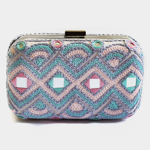 Sequins Embroidered Crepe Mirrorwork Clutch by ETRE