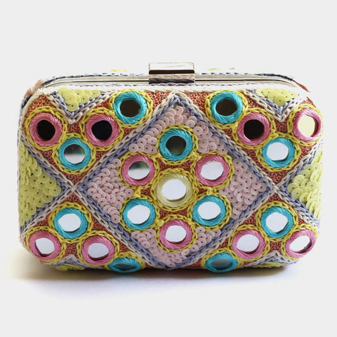 Floral Mirrorwork Sequins Embroidered Crepe Clutch by ETRE