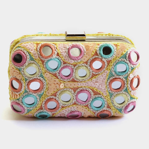 Colourful Mirrorwork Sequins Embroidered Crepe Clutch by ETRE