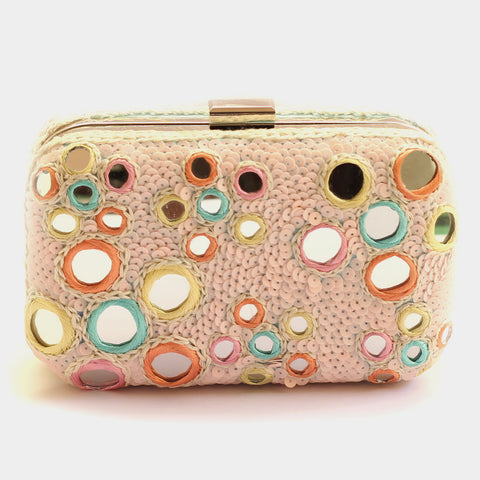 Bubble Mirrorwork Sequins Embroidered Crepe Clutch by ETRE