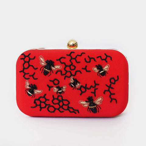 Red Honey Bee Embroidered Crepe Clutch by ETRE
