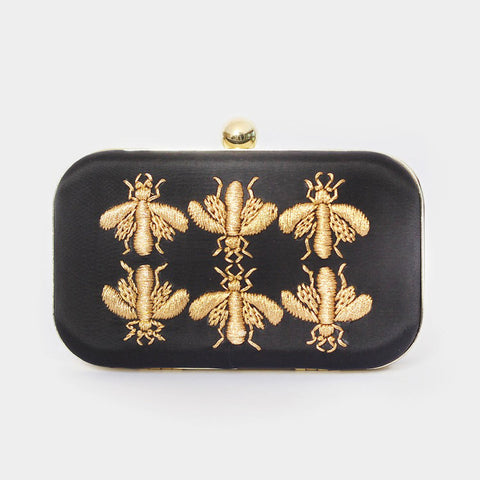 Black Golden Bee Embroidered Crepe Clutch by ETRE