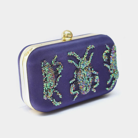 Navy Blue Beetle Embroidered Crepe Clutch by ETRE