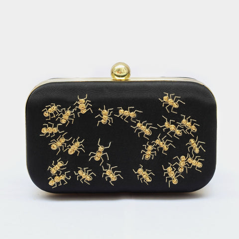 Black Golden Ant Embroidered Crepe Clutch by ETRE