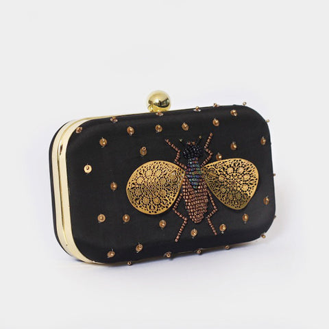 Black Bumblebee Embroidered Crepe Clutch by ETRE