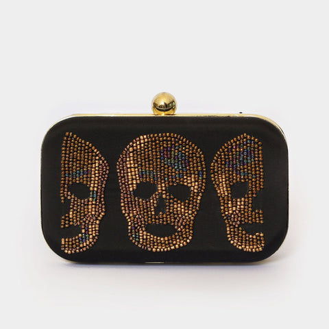 Black Skull Embroidered Crepe Clutch by ETRE