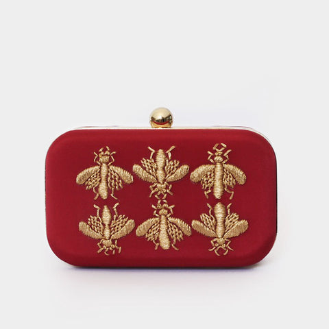 Maroon Golden Bee Embroidered Crepe Clutch by ETRE