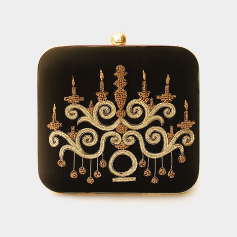 Black Candle Stand Embroidered Crepe Box Clutch by ETRE