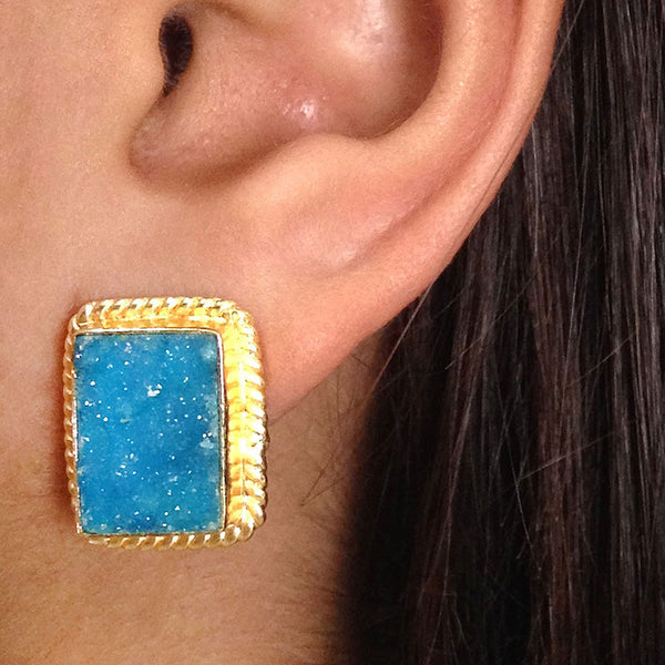Gold Plated Blue Druzy Brass Earrings