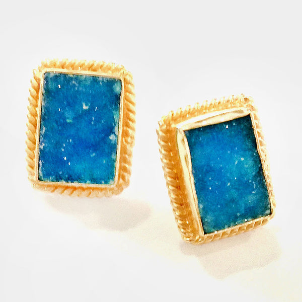 Gold Plated Blue Druzy Brass Earrings by Eesha Zaveri