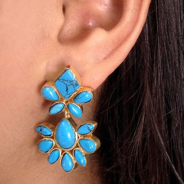 Gold Plated Brass Turquoise Ceramic Earrings