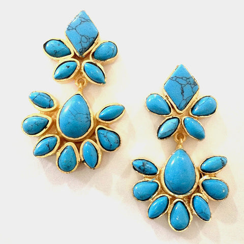 Gold Plated Brass Turquoise Ceramic Earrings by Eesha Zaveri