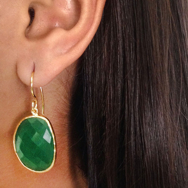 Gold Plated Faceted Drops Green Onyx Brass Earrings