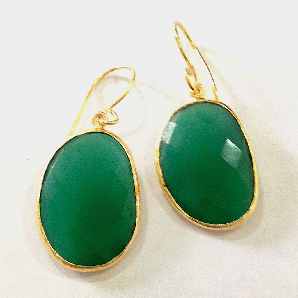 Gold Plated Faceted Drops Green Onyx Brass Earrings by Eesha Zaveri